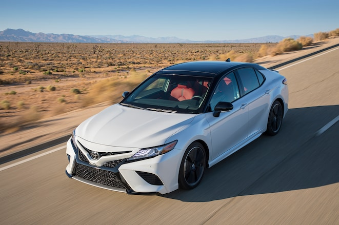 2018-Toyota-Camry-XSE-front-three-quarter-in-motion-05